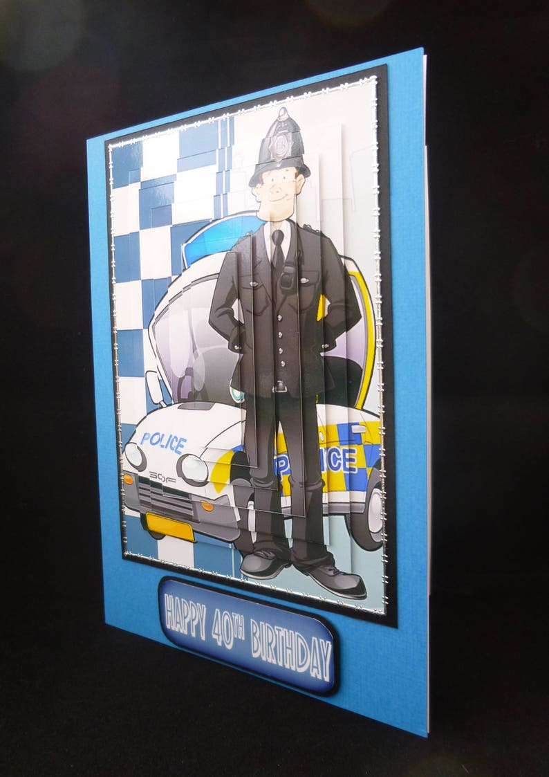 3d Decoupage Policeman Birthday Card Personalised Police