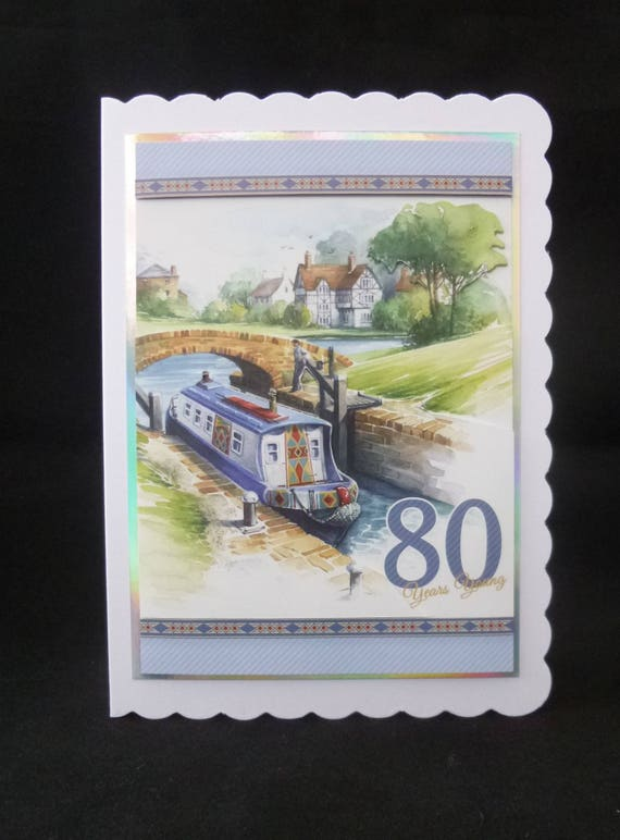 80th Birthday Card Male Barge