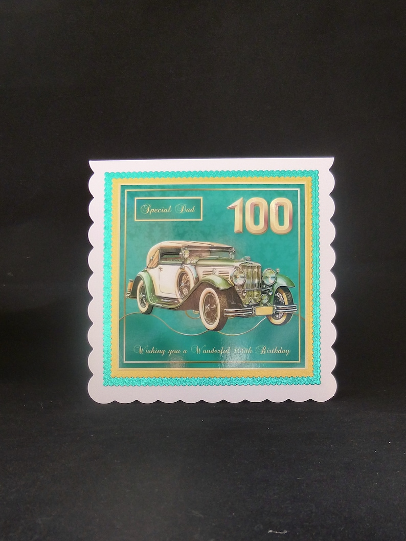 Male 100th Old Fashioned Car Birthday Card Personalised 3d