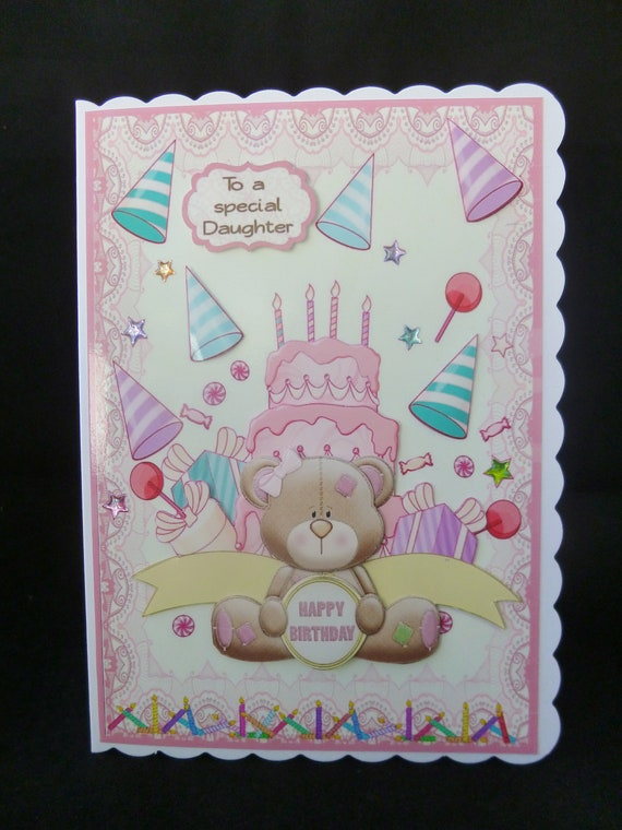 Teddy Bear Daughter Birthday Card 3d Decoupage Someone