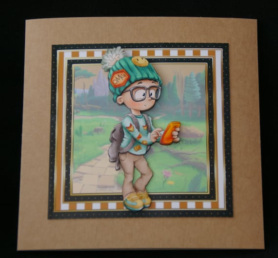Young Boy Outdoor Activities Birthday Card 3d Decoupage