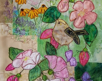 Printed pattern for the secret garden block 3 goldcrest roses quilt raw edge applique tutorial free motion embroidery