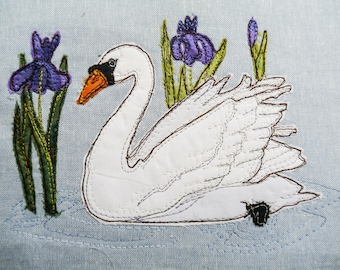 Pattern and fabric kit for Swan with iris raw edge applique tutorial free motion embroidery
