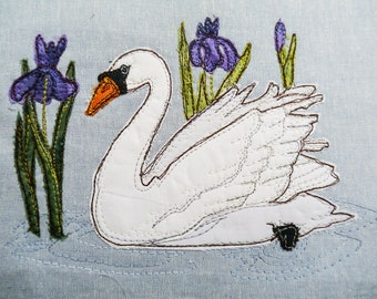 Printed pattern for Swan with iris raw edge applique tutorial free motion embroidery