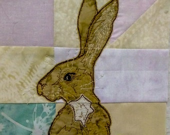 Printed pattern for Ellie's rainbow quilt part 3 standing hare  raw edge applique tutorial free motion embroidery