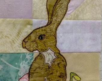 PDF pattern for Ellie's rainbow quilt part 3 hare and spring flowers  raw edge applique tutorial free motion embroidery