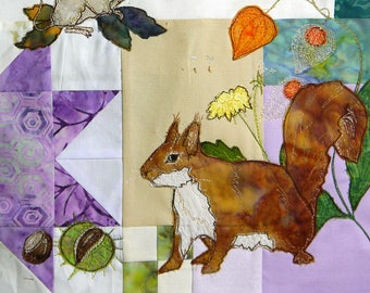 Printed pattern for Block of the month 8 kestrel, mouse, squirrel raw edge applique tutorial free motion embroidery
