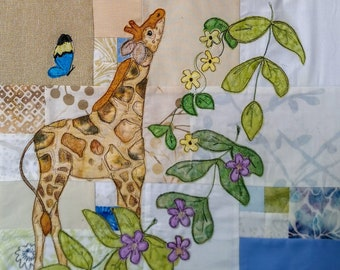 Printed pattern for Circle of Life BOM Month 9 Africa baby giraffe butterflies