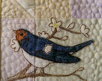 PDF pattern for Rainbow Sherbet Border panel 3 mice, swallow, flowers, bat free motion embroidery patchwork
