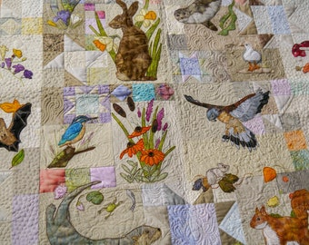 PDF pattern set for Rainbow Sherbet smaller BoM English wildlife free motion embroidery patchwork Inner 4 patterns plus borders