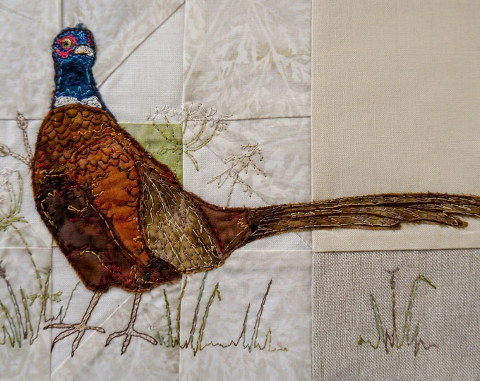 Featured listing image: Full kit and Printed pattern for Highlands quilt block 1 Pheasant and wild grasses raw edge applique tutorial free motion embroidery