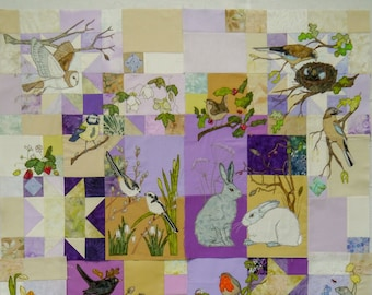 Fabric kit and pattern Lilac Wildlife quilt Block 3 (Upper Border)