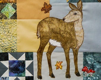 Printed pattern for Block of the month 10 Autumn doe deer, damsel fly, thistles raw edge applique tutorial free motion embroidery