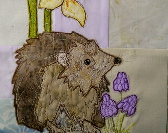 Fabric kit and Printed pattern for Ellie's rainbow quilt part 1 hedgehog and daffodils  raw edge applique tutorial free motion embroidery