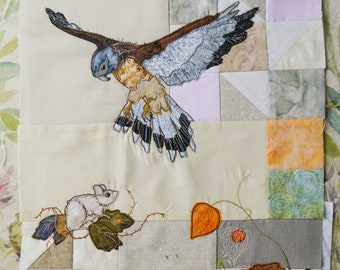 Printed pattern for Rainbow Sherbet Block 3 Kestrel squirrel and mouse free motion embroidery patchwork
