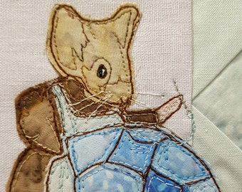 PDF pattern for Block 15 Life in the Town Victorian Mice Emma maid quilting servants bedroom raw edge applique free motion embroidery