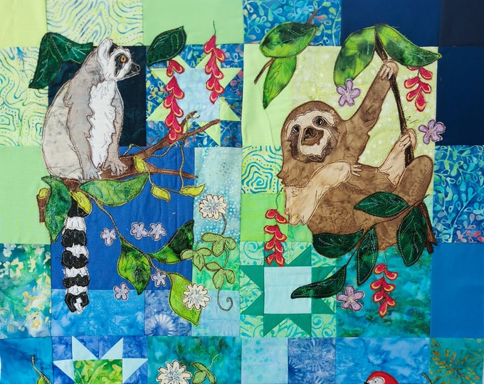 Featured listing image: Full kit Rainforest Fiesta Block of the month applique Sloth toucan parrot ring tailed lemur