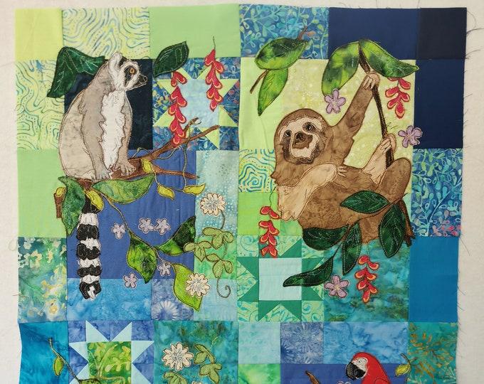 Featured listing image: Full PDF pattern set Rainforest Fiesta applique sloth parrot lemur toucan
