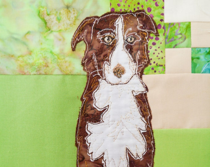 Featured listing image: Printed pattern Farmyard Rainbow Block 2 Border collies (Free motion embroidery, raw edge applique, quilt)