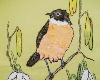 PDF pattern for Stonechat and Snowdrops raw edge applique tutorial free motion embroidery