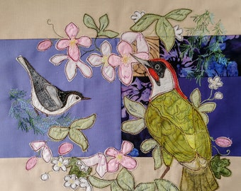 PDF pattern for A Study in Lilac block 3 woodpecker raw edge applique tutorial free motion embroidery