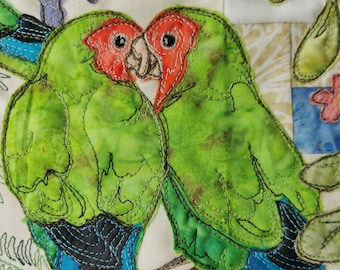 Printed pattern for Circle of Life BOM Month 5 Africa parrot peach faced lovebirds