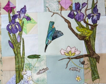 "PDF pattern Kingfisher frog iris fish riverbank 14"" square raw edge applique free motion embroidery"