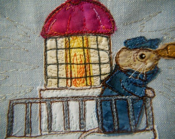 PDF pattern for Beside the seaside Victorian Mice block 7 lighthouse raw edge applique tutorial free motion embroidery