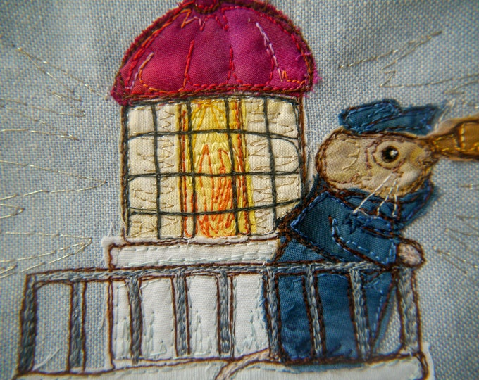 Featured listing image: PDF pattern for Beside the seaside Victorian Mice block 7 lighthouse raw edge applique tutorial free motion embroidery