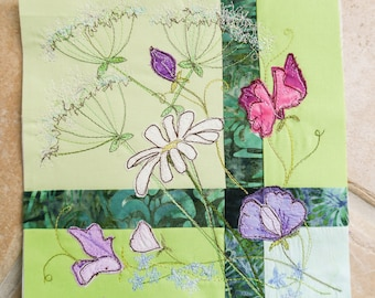 "Fabric kit and pattern for early summer sweet pea flowers cows parsley 12"" square raw edge applique tutorial free motion embroidery"