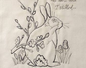 PDF Red work 2 Rabbit and blackthorn blossom pattern wildlife hand sewing Raggedy Ruff Embroidery spring