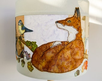PDF pattern for Fox and Owl neutral  purple grey lampshade raw edge applique free motion embroidery