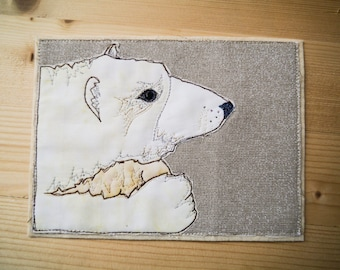 PDF pattern for Pondering Polar bear arctic animal series applique tutorial free motion embroidery
