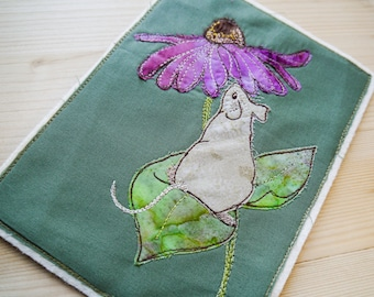 Fabric kit and pattern for autumn mouse raw edge applique tutorial free motion embroidery