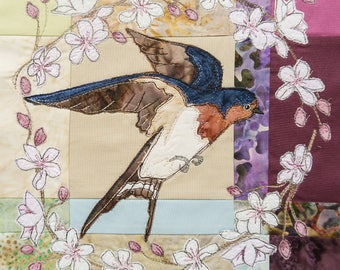 "PDF pattern Swallow and Cherry Blossom 10"" or 15"" square raw edge applique tutorial free motion embroidery"