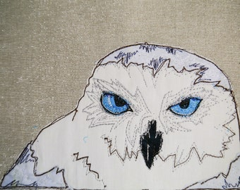 PDF Pattern for Arctic Owl raw edge applique tutorial free motion embroidery