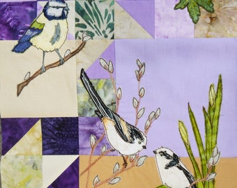 Fabric kit and pattern Lilac Wildlife quilt Block 1