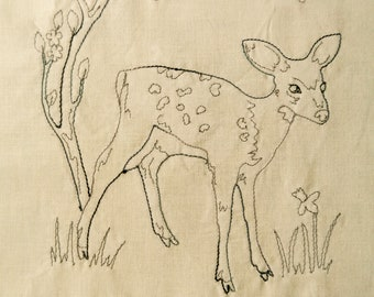 Red work 10 Fawn and blossom PDF pattern wildlife hand sewing Raggedy Ruff Embroidery