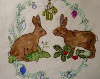 Printed pattern for Christmas hares raw edge applique tutorial free motion embroidery