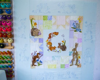 Full Fabric kit and Printed pattern for Ellie's rainbow quilt parts 1 to 7 raw edge applique tutorial free motion embroidery