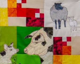 PDF pattern Farmyard Rainbow Block 4  Pigs and sheep (Free motion embroidery, raw edge applique, quilt)