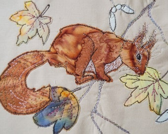 PDF pattern for Sycamore Squirrel raw edge applique tutorial free motion embroidery