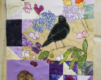 Printed pattern for Block of the month 6 blackbird, shrew, butterfly  raw edge applique tutorial free motion embroidery
