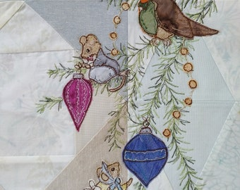 Month 5 PDF pattern Mice and robin Vintage Christmas Block of the Month 2019 Free motion embroidery raw edge applique