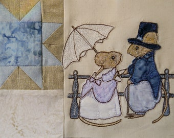 PDF pattern for Beside the seaside 3 Victorian Mice promenade lovers raw edge applique tutorial free motion embroidery