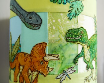 Pattern for Dinosaur scene lampshade raw edge applique free motion embroidery tyrannosaurus rex, triceratops, argentinosaurus