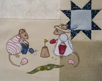 Full kit and Printed pattern for Beside the seaside Victorian Mice making sandcastles raw edge applique tutorial free motion embroidery