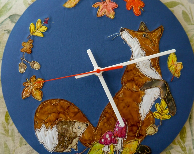 Featured listing image: PDF pattern for 30cm Fox hedgehog autumn clock raw edge applique free motion embroidery , whimsy, whimsical