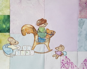 Printed pattern for Block 13 Life in the Town Victorian Mice Nursery rocking squirrel  raw edge applique tutorial free motion embroidery