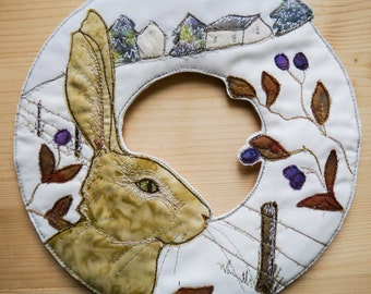 "PDF pattern for Winter Hare Wreath 8""  with Printed pattern raw edge applique tutorial free motion embroidery"
